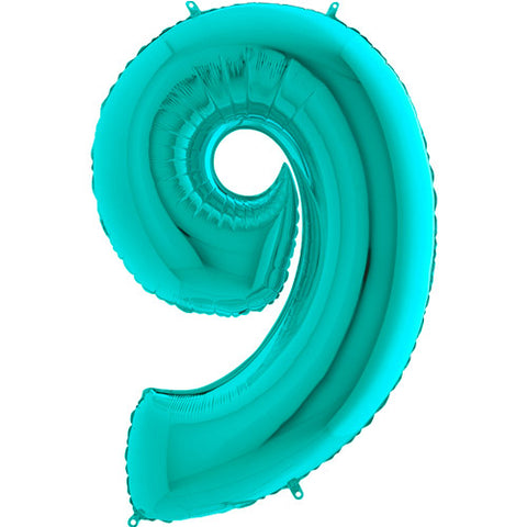 40 inch Tiffany Blue Number 9 Foil Balloon