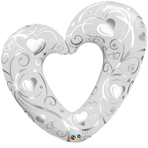 42 inch Hearts & Filigree Pearl White Foil Balloon