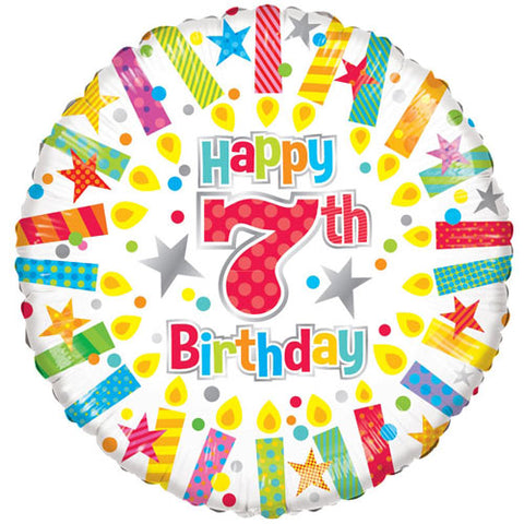 18 inch 7th Birthday Candles Foil Balloon