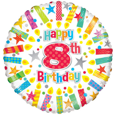 18 inch 8th Birthday Candles Foil Balloon