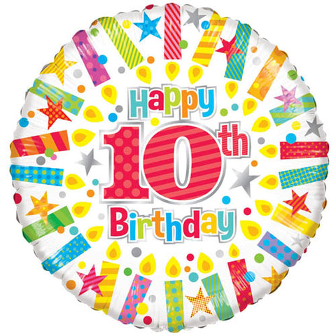 18 inch 10th Birthday Candles Foil Balloon