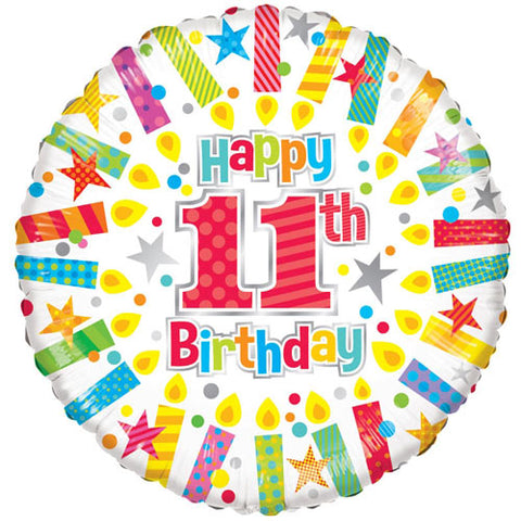 18 inch 11th Birthday Candles Foil Balloon