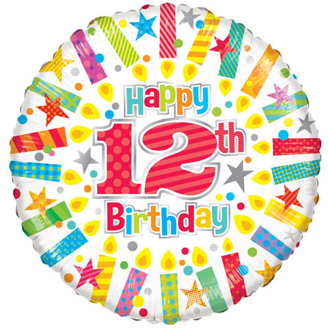 18 inch 12th Birthday Candles Foil Balloon