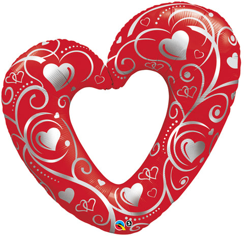 42 inch Hearts & Filigree Red Foil Balloon