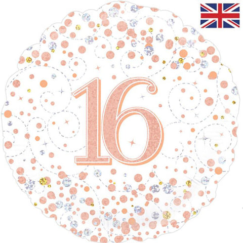 18 inch 16th Birthday White & Rose Gold Fizz Foil Balloon