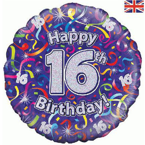 18 inch Birthday Streamers 16th Foil Balloon