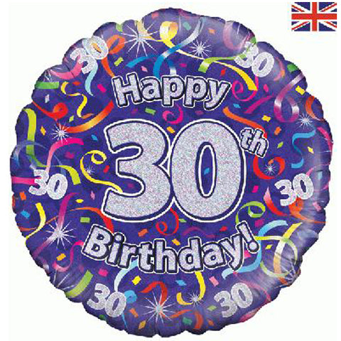 18 inch Birthday Streamers 30th Foil Balloon
