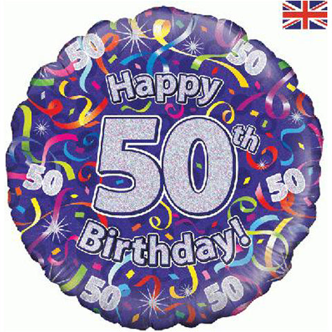 18 inch Birthday Streamers 50th Foil Balloon