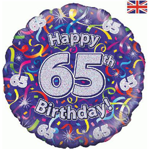 18 inch Birthday Streamers 65th Foil Balloon