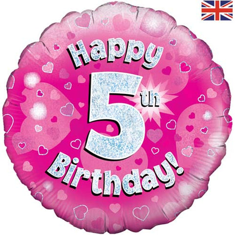 18 inch Happy 5th Birthday Pink Foil Balloonn
