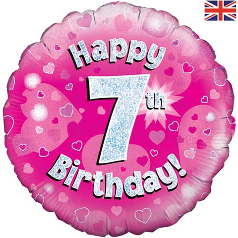 18 inch Happy 7th Birthday Pink Foil Balloon
