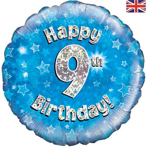 18 inch Happy 9th Birthday Blue Foil Balloon