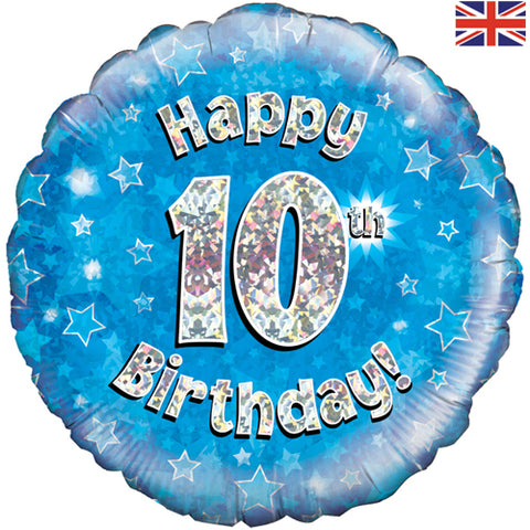 18 inch Happy 10th Birthday Blue Foil Balloon