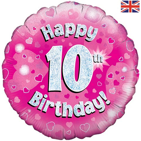 18 inch Happy 10th Birthday Pink Foil Balloon