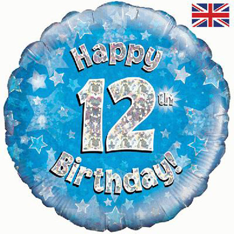 18 inch Happy 12th Birthday Blue Foil Balloon
