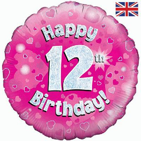 18 inch Happy 12th Birthday Pink Foil Balloon