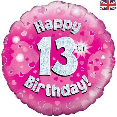 18 inch Happy 13th Birthday Pink Foil Balloon
