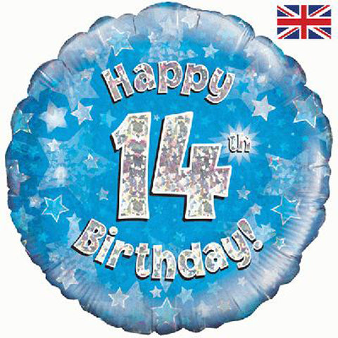18 inch Happy 14th Birthday Blue Foil Balloon