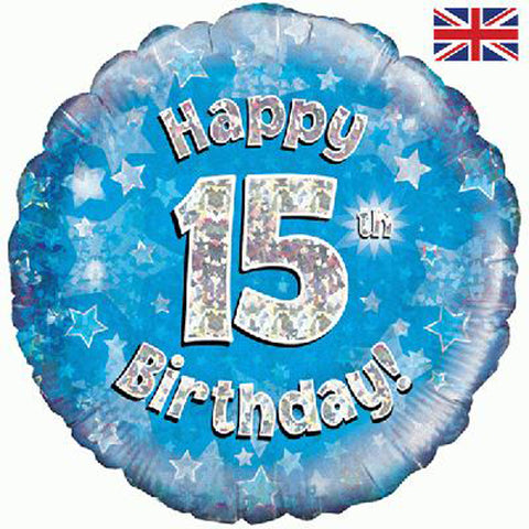 18 inch Happy 15th Birthday Blue Foil Balloon