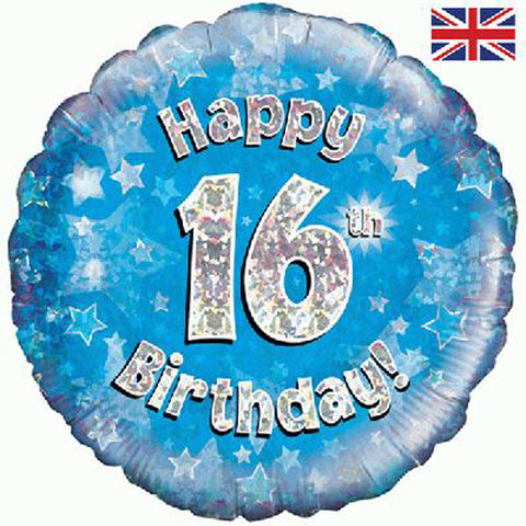 18 inch Happy 16th Birthday Blue Foil Balloon oon