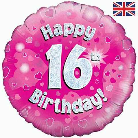 18 inch Happy 16th Birthday Pink Foil Balloon