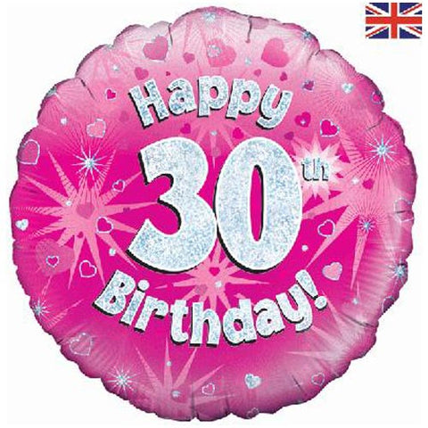 18 inch Happy 30th Birthday Pink Foil Balloon