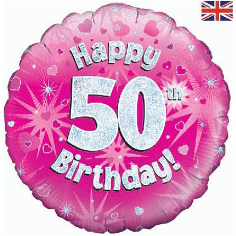 18 inch Happy 50th Birthday Pink Foil Balloon