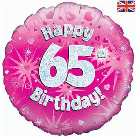 18 inch Happy 65th Birthday Pink Foil Balloon