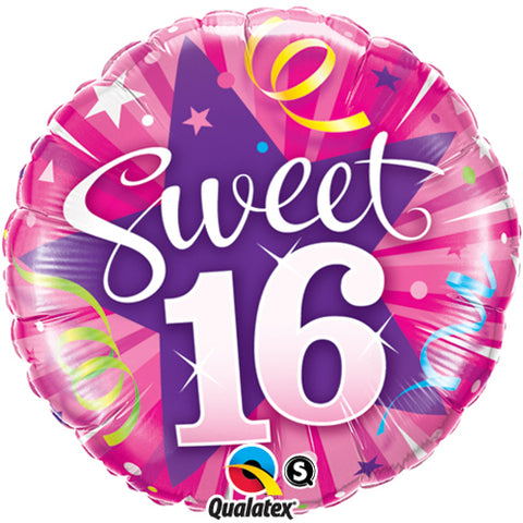 18 inch Hot Pink Sweet 16 Shining Star Foil Balloon