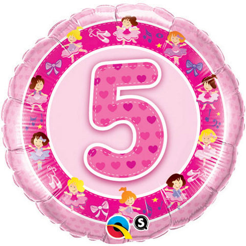 18 inch Age 5 Pink Ballerinas Birthday Foil Balloon