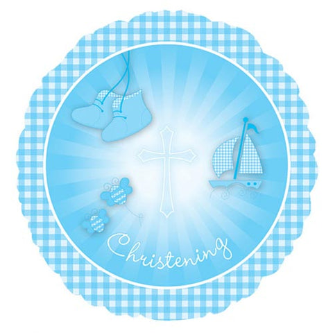 18 inch Christening Blue Booties Foil Balloon