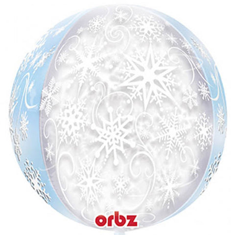 16 inch Orbz Frozen Snowflakes Clear Foil Balloon