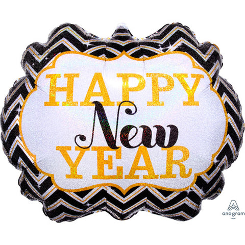 25 inch Happy New Year Marquee Supershape Foil Balloon