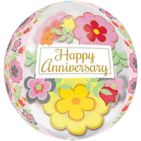 16 inch Orbz Flowery Anniversary Clear Foil Balloon