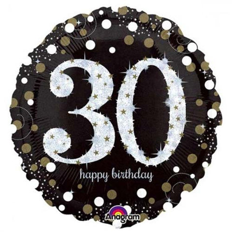 18 inch Black & Gold Sparkling 30th Birthday Foil Balloon