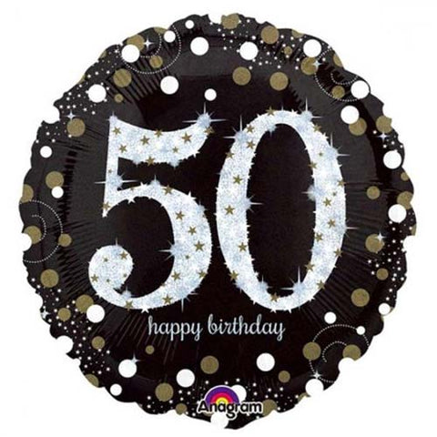 18 inch Black & Gold Sparkling 50th Birthday Foil Balloon