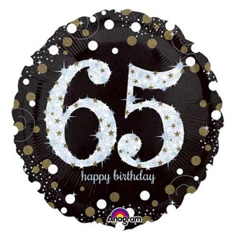18 inch Black & Gold Sparkling 65th Birthday Foil Balloon