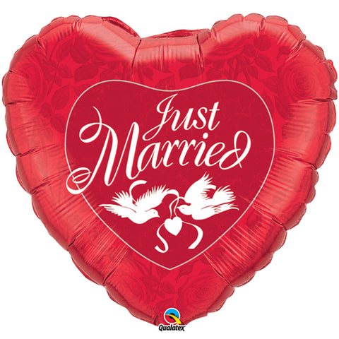 36 inch Just Married Red & White Heart Foil Balloon