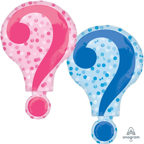 28 inch Gender Reveal Question Mark Supershape Foil Balloon