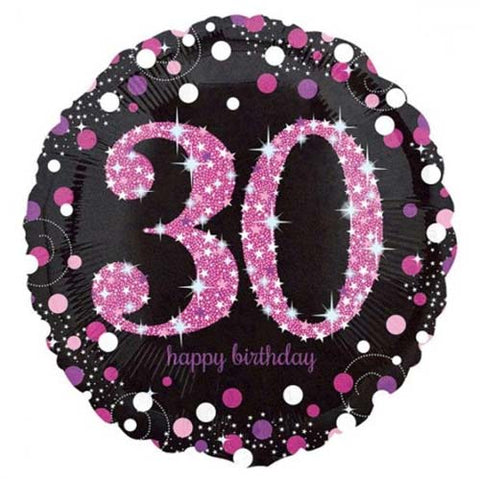 18 inch Black & Pink Sparkling 30th Birthday Foil Balloon