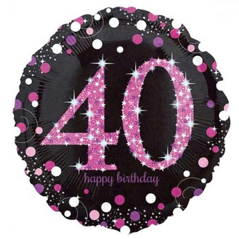 18 inch Black & Pink Sparkling 40th Birthday Foil Balloon