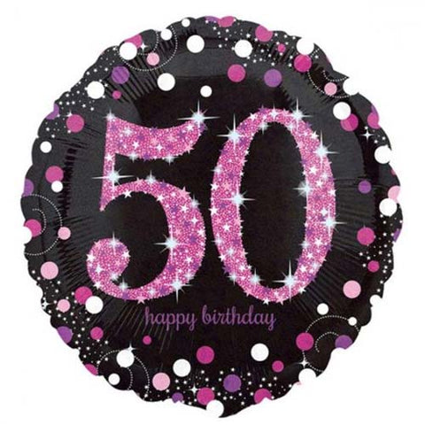 18 inch Black & Pink Sparkling 50th Birthday Foil Balloon
