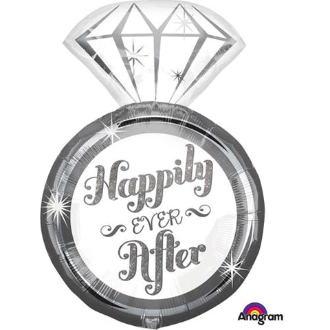 27 inch Happily Ever After Ring Supershape Foil Balloon