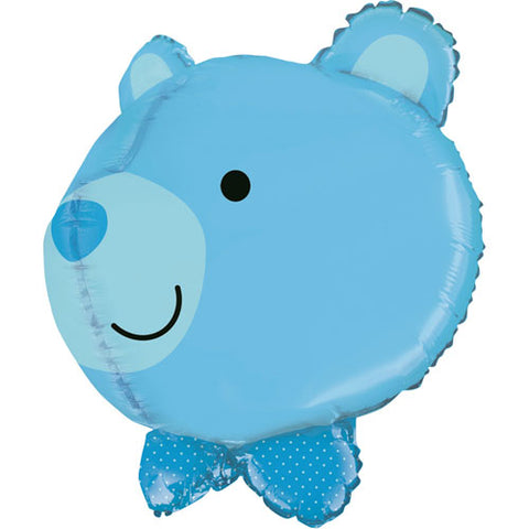 27 inch 3D Baby Boy Bear Head Foil Balloon