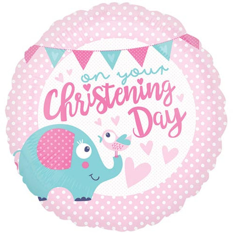 18 inch Christening Day Pink Foil Balloon