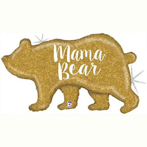 39 inch Mama Bear Gold Holographic Foil Balloonon
