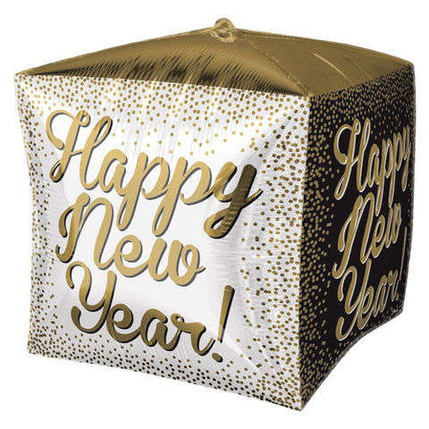 15 inch Cubez White, Gold & Black New Year Foil Balloon