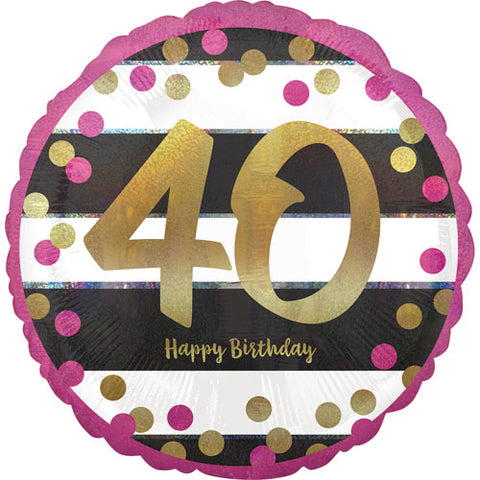 18 inch 40th Birthday Pink & Gold Holographic Foil Balloon