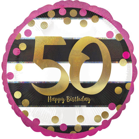 18 inch 50th Birthday Pink & Gold Holographic Foil Balloon