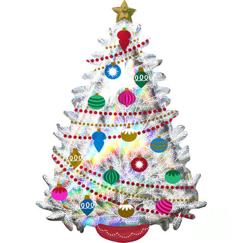 36 inch Iridescent Christmas Tree Supershape Foil Balloon